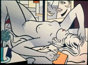 Lichtenstein Nude With Abstract Painting