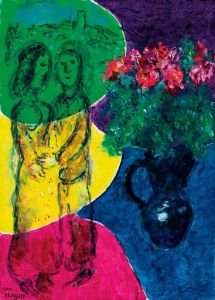 Marc Chagall The Lovers With 5 Colors Flowery - 1978