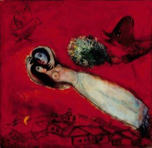 Marc Chagall The Lovers With Red Sky