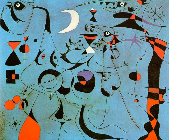 Miro Figure At Night Guided By The Phosphorescent Tracks Of Snails