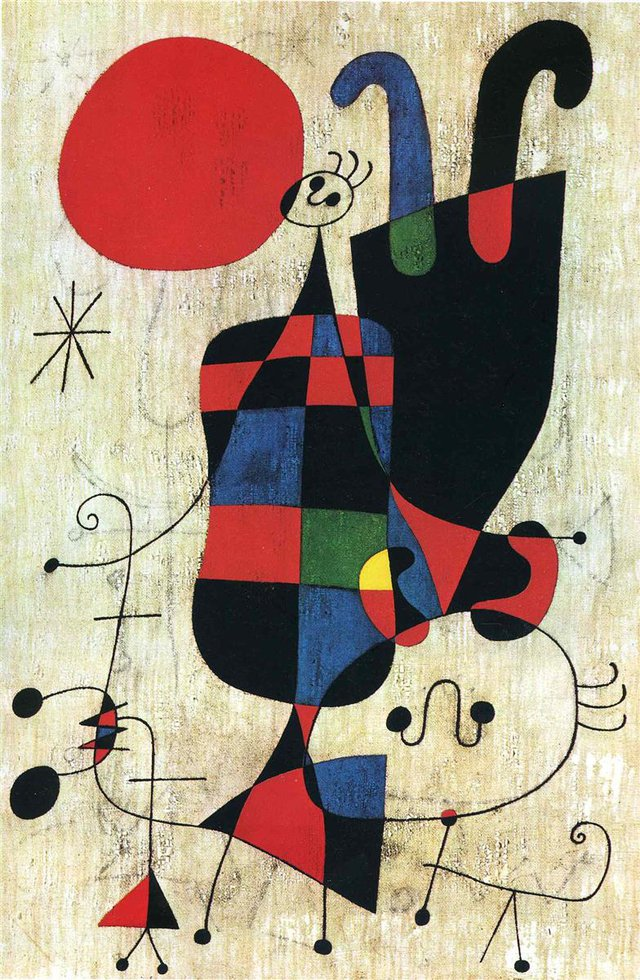 Miro Figures And Dog In Front Of The Sun